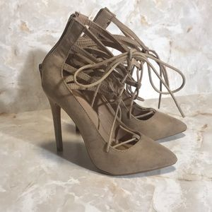 Nude Charlotte Russe Tie Up Heels Zip Lace Size